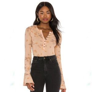 Free People Layer Me Henley Just Peachy NWT M